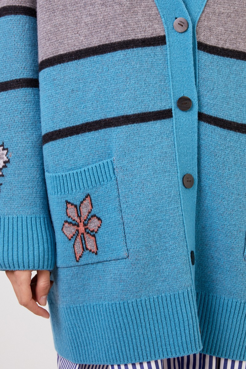 Loewe Woll-Cardigan Grau/Blau