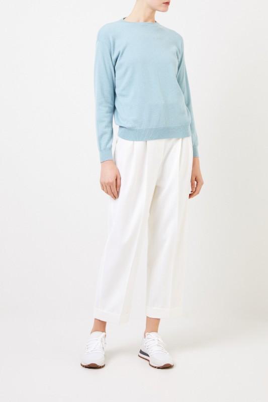 Brunello Cucinelli Woll-Bundfaltenhosen Weiß