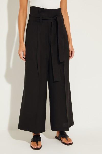 High-Waist Hose mit weitem Bein Schwarz