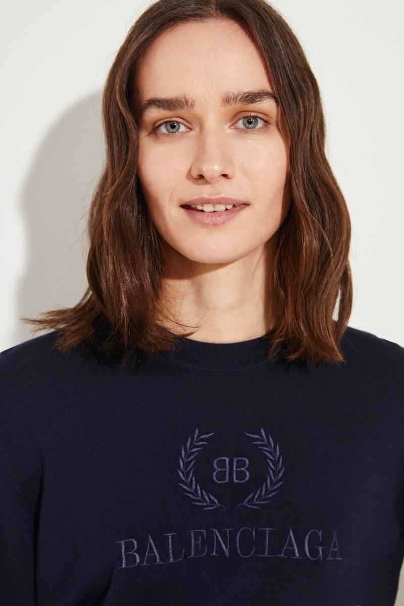 Woll-Pullover mit Stickerei Blau
