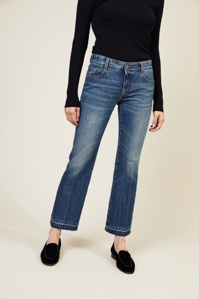 Jeans mit ausgefranstem Saum 'Skinny Kick' Blau