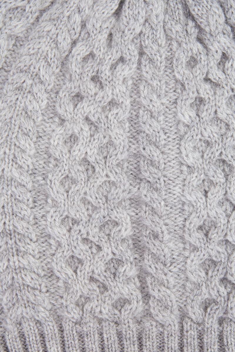 UZWEI Cashmere-Mütze mit Zopfmuster Grau