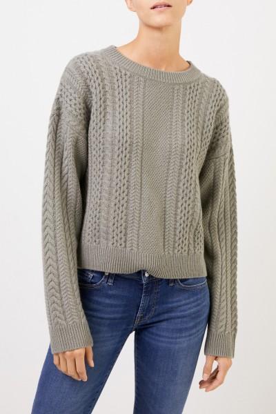 Uzwei Cashmere-Pullover mit Zopfmuster Salbei
