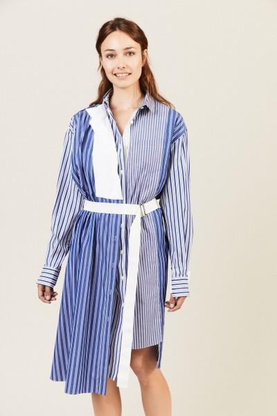 Hemdblusenkleid mit Gürtel-Detail Blau/Weiß