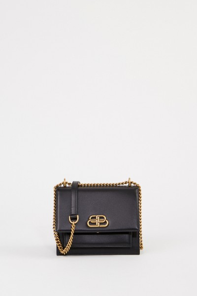 Balenciaga Leather bag with chain strap Black