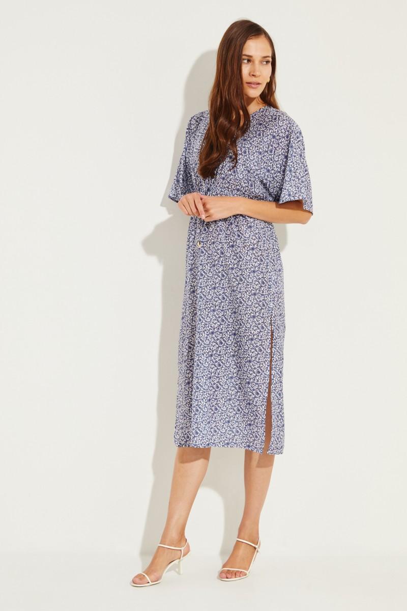 Baumwoll-Seiden-Kleid mit Print Blau/Multi