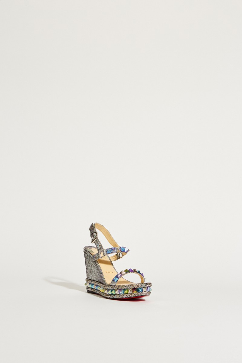 Leder-Wedges 'Pyraclou' im Metallic-Look Silber/Multi