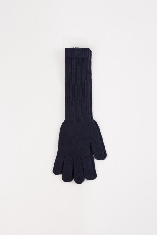 Uzwei Lange Woll-Cashmere-Handschuhe Marineblau