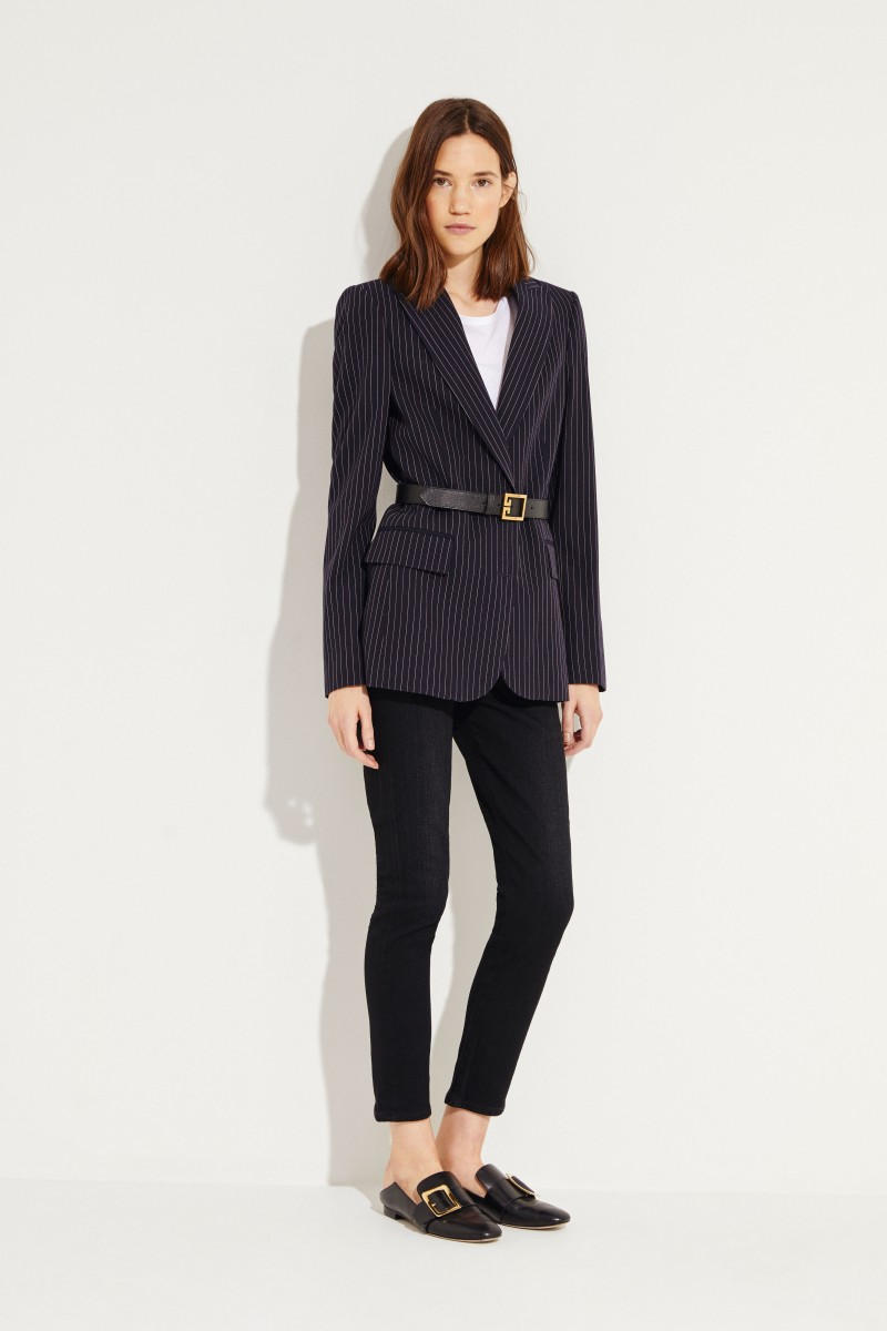 Stella McCartney Gestreifter Wollblazer Marineblau