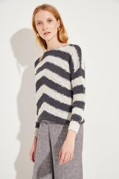Baumwoll-Pullover mit Streifenmuster Grau/Beige