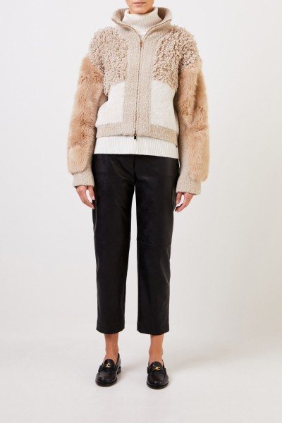 Short Faux Fur Jacket with Detail Beige