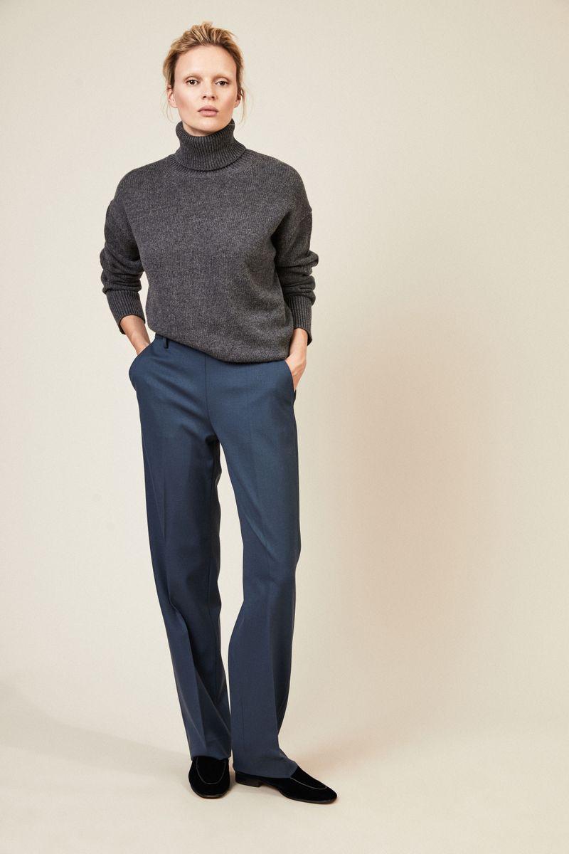 Woll-Hose 'Emma' mit weitem Bein Taubenblau