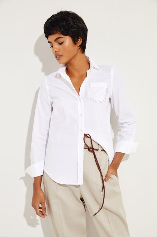 Klassische Bluse mit Perlen-Details Weiß