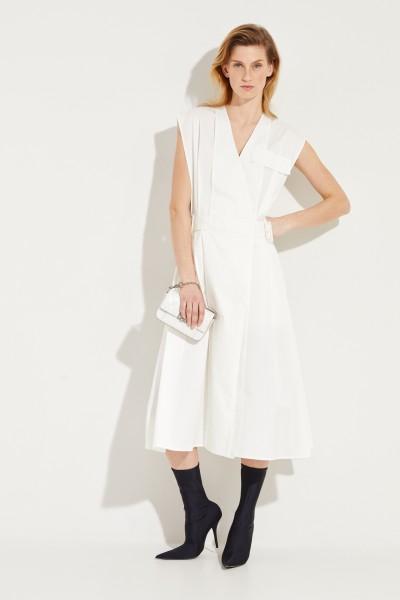 Baumwoll-Kleid 'Logan' mit Gürteldetails Weiß