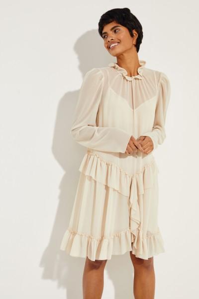 Kleid mit Rüschendetails Beige