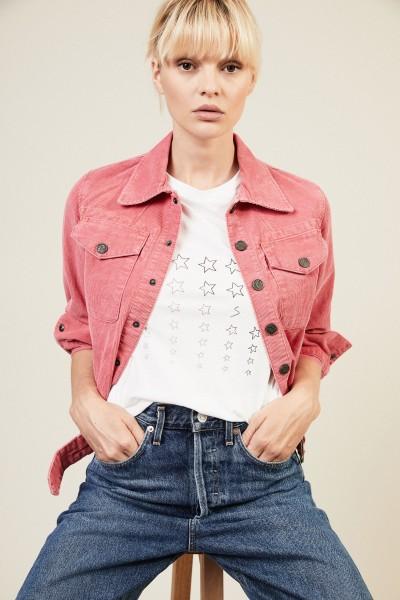 Cord-Jacke mit Gürteldetail Pink