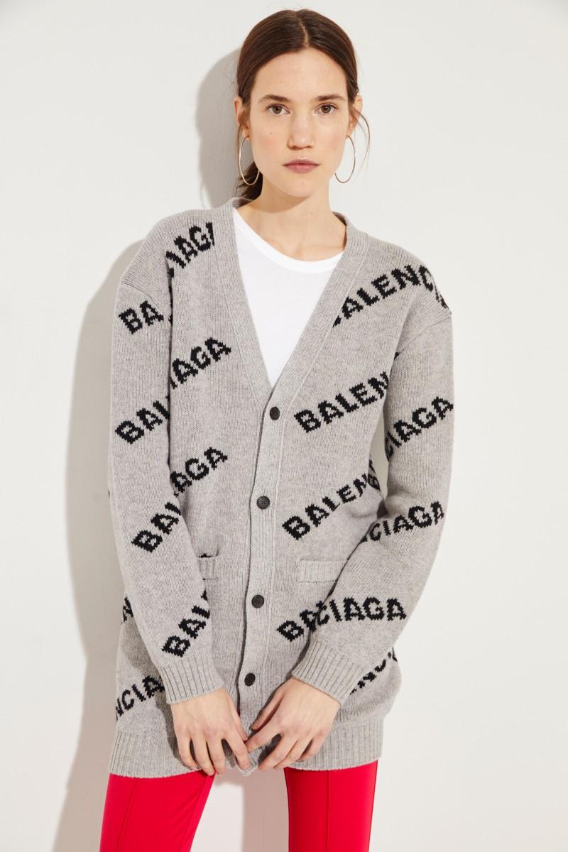 Langer Woll-Cardigan mit Logo Grau/Schwarz