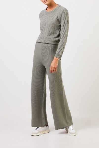 Uzwei Cashmere trousers with wide leg Sage