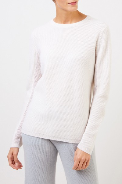 UZWEI Cashmere-Pullover mit Mesh-Strick Weiß