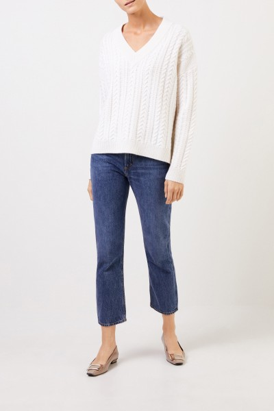 V-neck cashmere pullover with cable stitch White