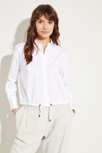 Verkürzte Baumwoll-Bluse mit Seidendetails Weiß