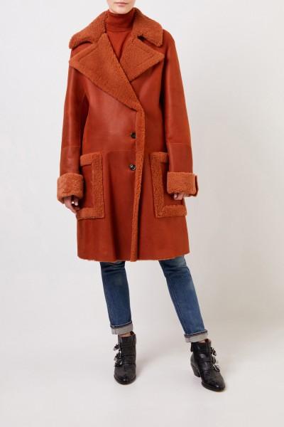 Chloé Long lambskin coat Bark Orange