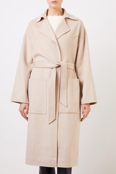 Nanushka Wool-silk-coat 'Alamo' with belt Beige