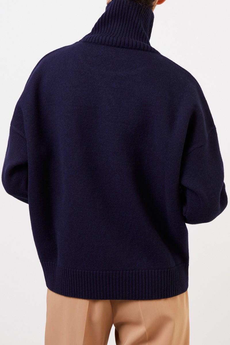 Ami Woll-Rollkragenpullover mit Logo Marineblau