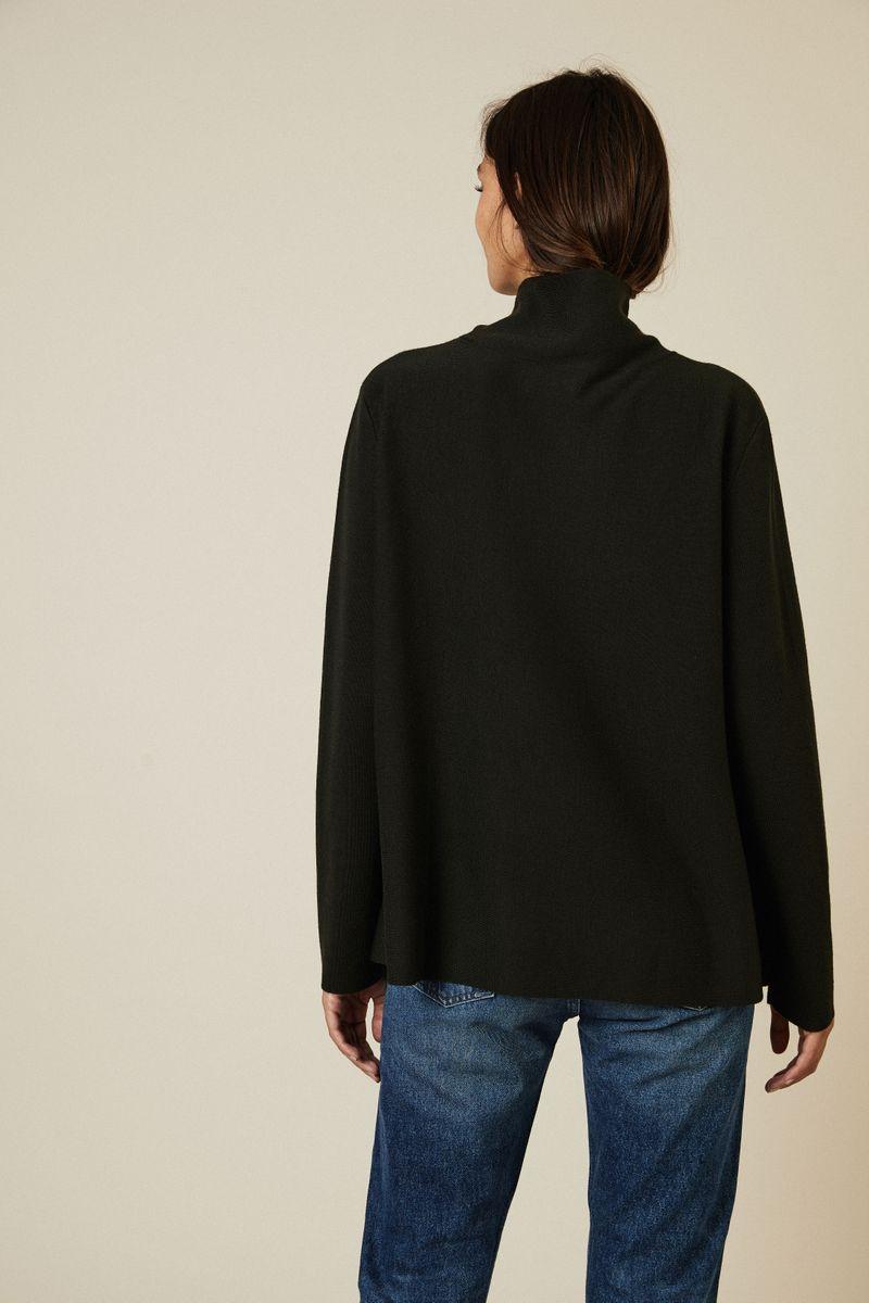 Oversize Woll-Pullover in Olivgrün