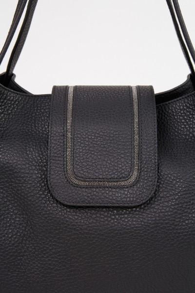 Fabiana Filippi Tasche mit Perlenverzierung Schwarz