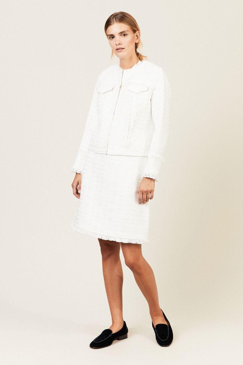 Tweed-Jacke 'Lindsay' mit Fransendetails Weiß