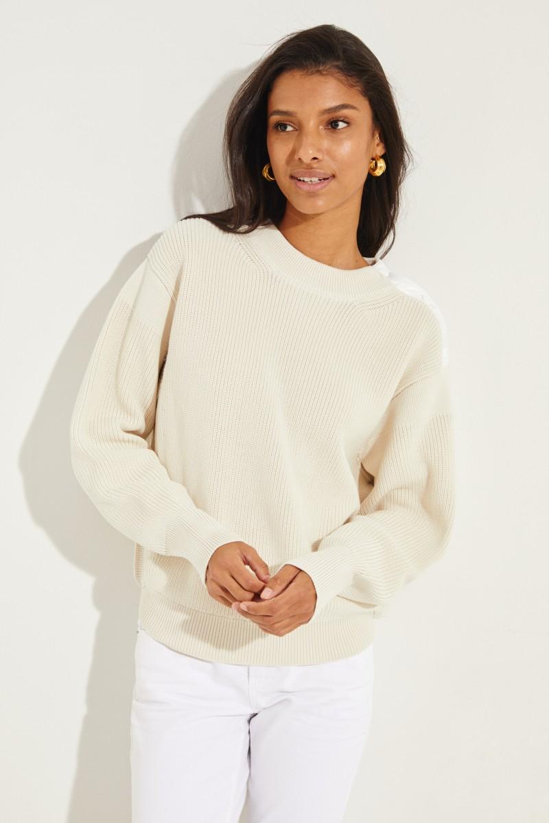 Pullover mit Druckknöpfen Crème