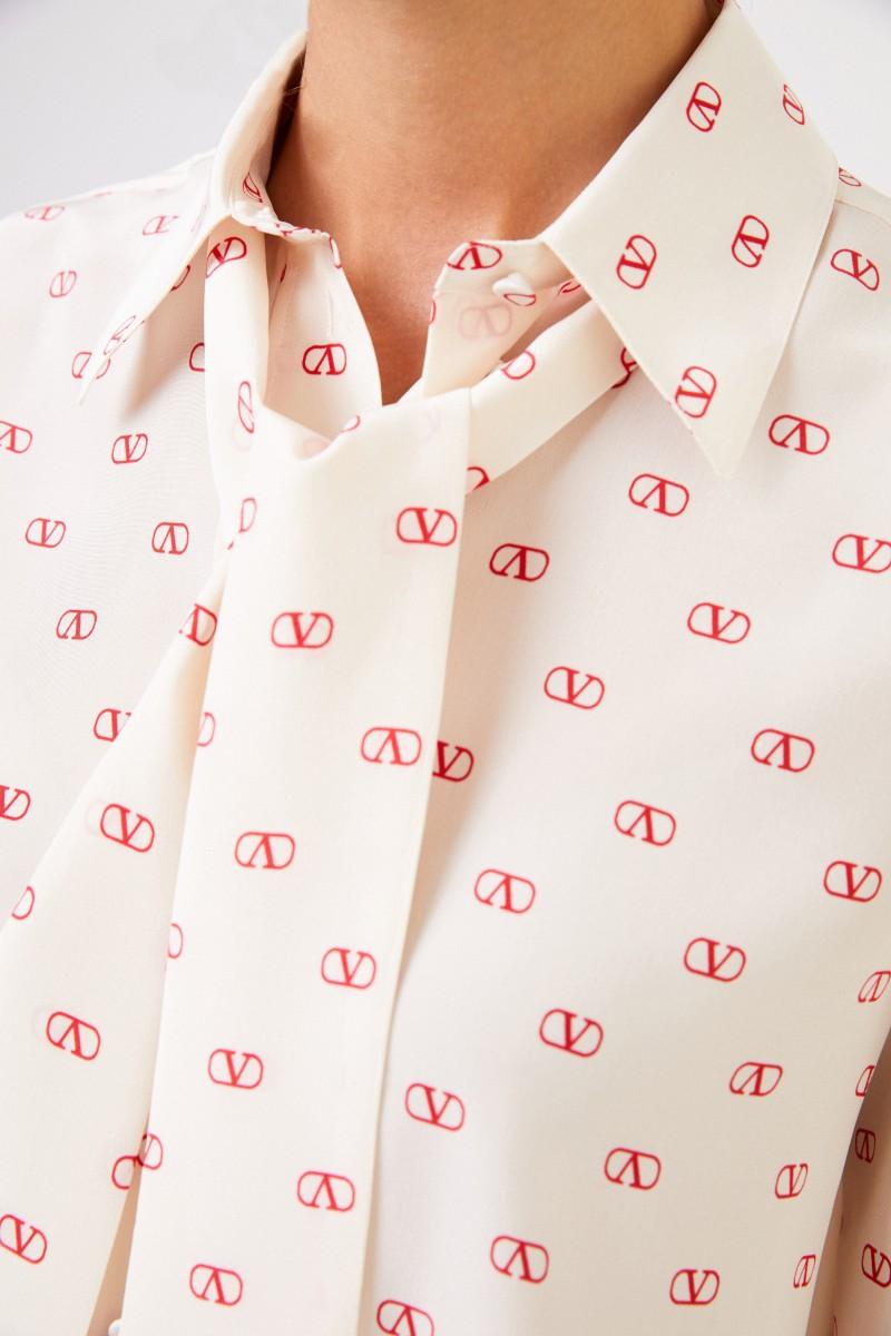 Valentino Seiden-Bluse mit Bindedetail Multi