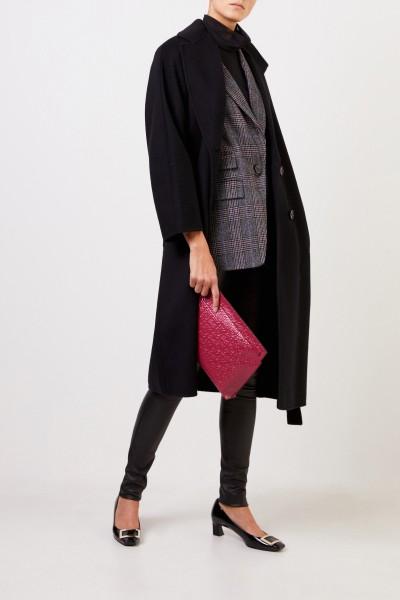 Uzwei Doubleface cashmere coat with belt Black