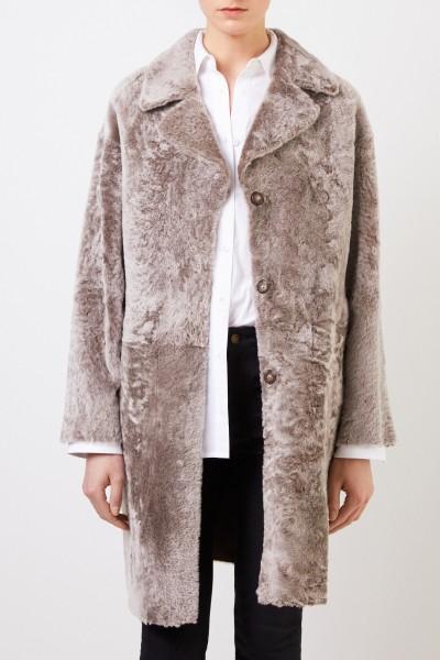 Benedetta Novi Reversible lambskin coat 'Mila' Taupe