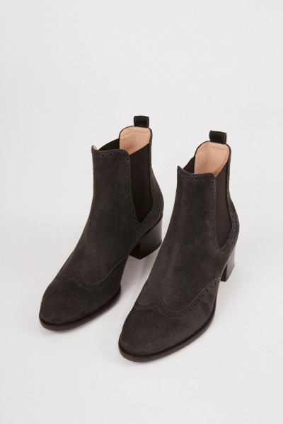 Unützer Patterned suede leather chelsea boat Brown
