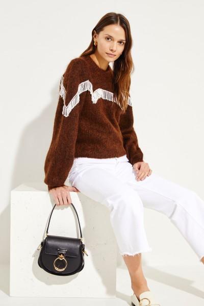 Pullover mit Perlen-Details 'Heavy Soft Wool Knit' Braun