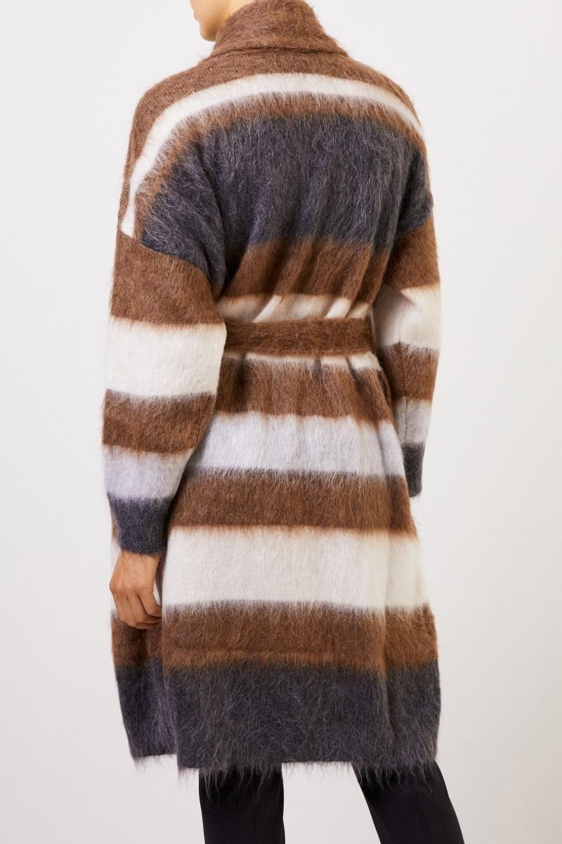 Brunello Cucinelli Woll-Mohair-Mantel mit Gürtel Multi