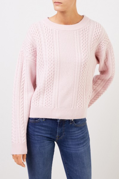 Uzwei Cashmere pullover with cable stitch Light Pink