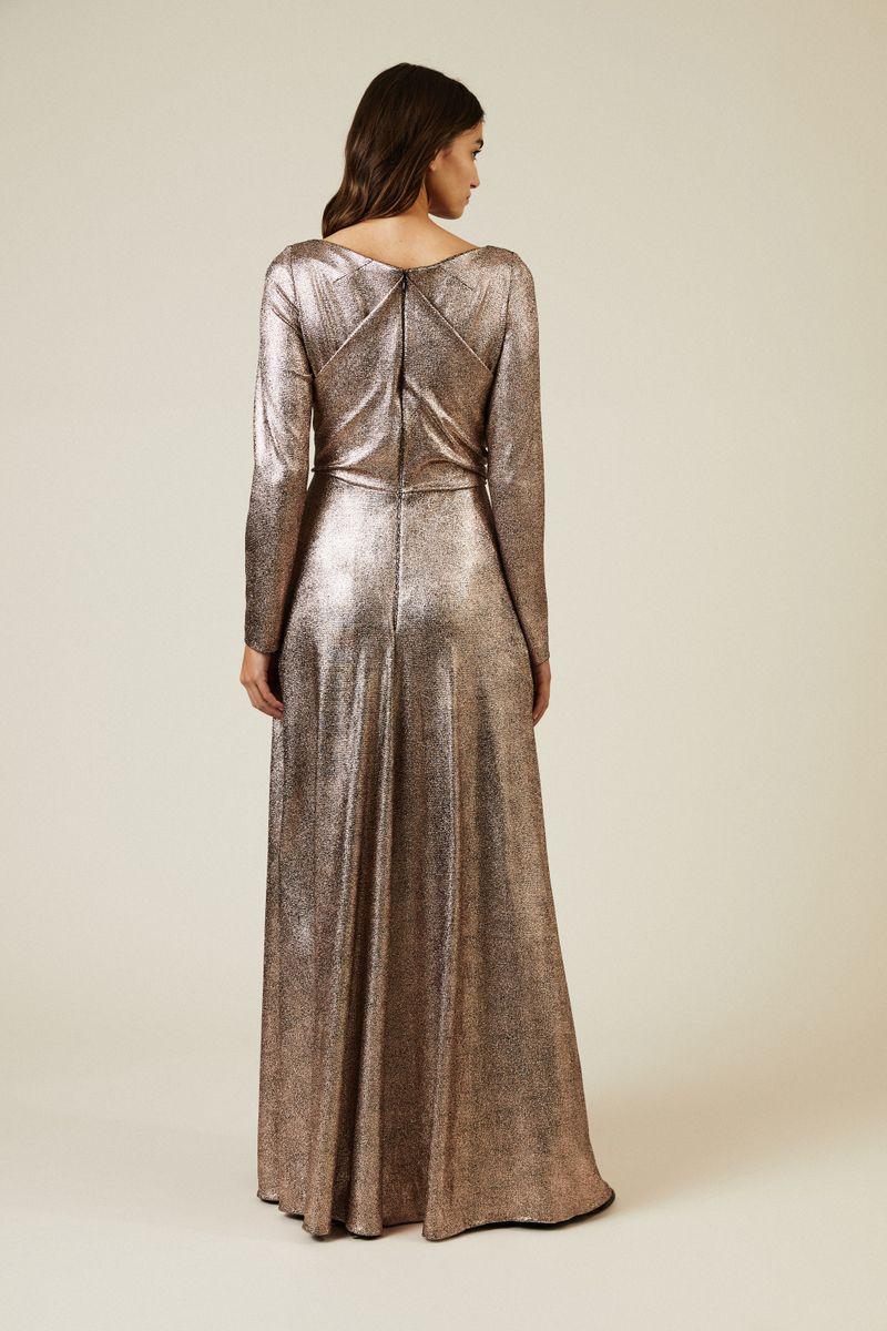 Abendkleid 'Ross7' Nude Metallic