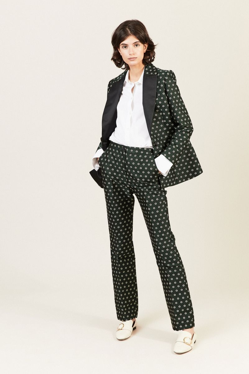 Hose mit floralem Muster Grün/Multi