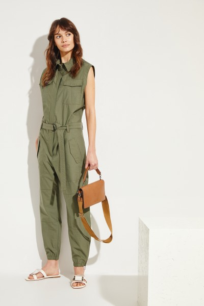 Jumpsuit mit Bindeelement Salbei