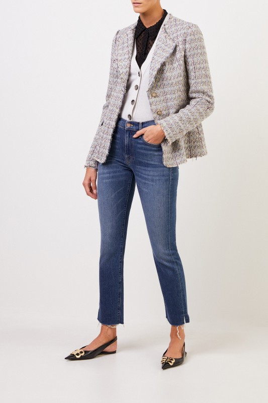 Brock Collection Tweed-Blazer mit Knopfdetails Hellblau/Multi