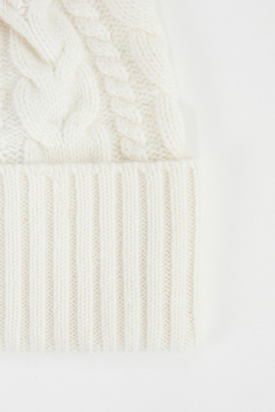 Moncler Wool cashmere cap with plait pattern White