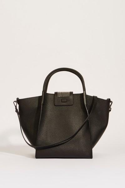 Leder-Handtasche 'Viola' mit perlenverzierter Lasche Schwarz