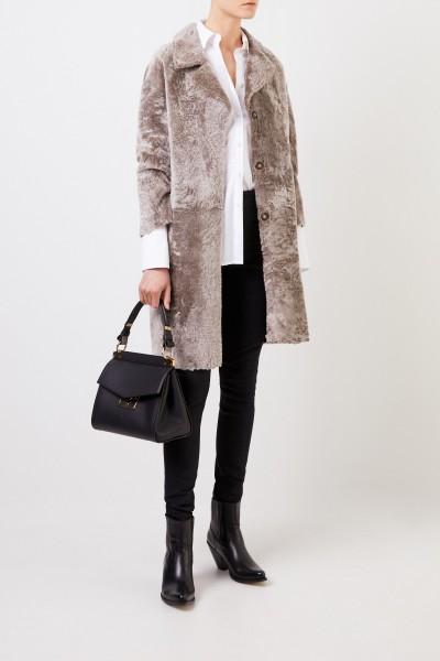 Reversible lambskin coat 'Mila' Taupe
