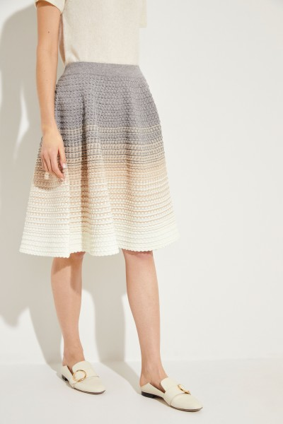 Wool skirt with knitted pattern Grey/Beige