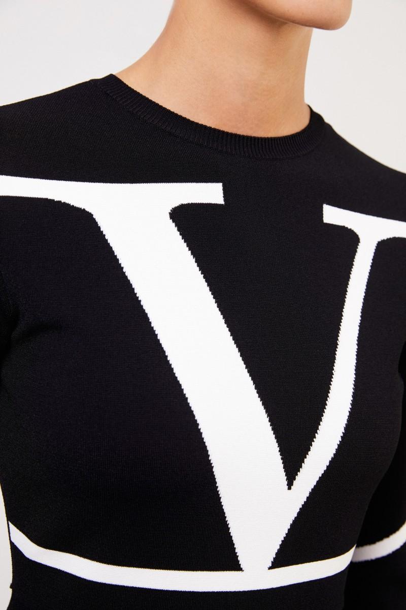 Strickkleid mit 'V' Schwarz/Weiß