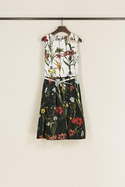 Kurzes Kleid mit floralem Print Schwarz/Weiß