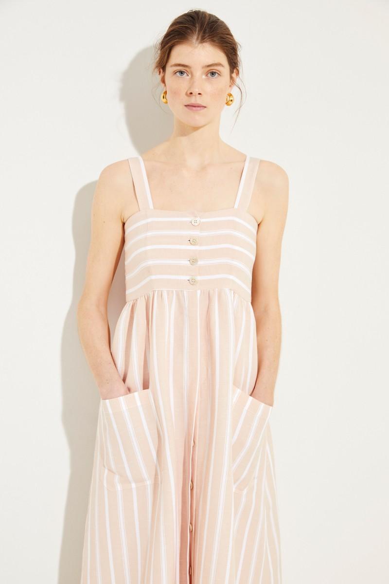 Striped linen dress  Boca  Rose White